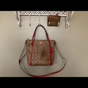 Coach signature Red Peyton purse and match wallet